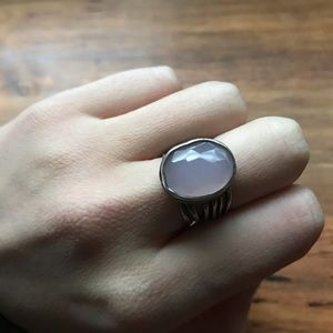 Gorgeous Silpada Ring Sterling Size 7 Rose Glass